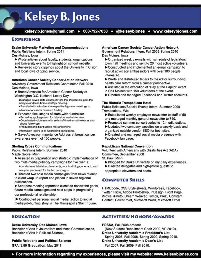 digital marketing resume - Ex